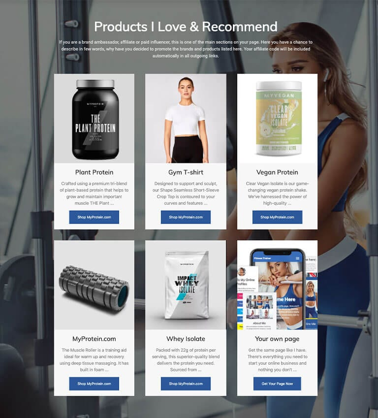 Affiliate products section